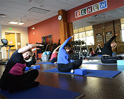 Class at on-site fitness center