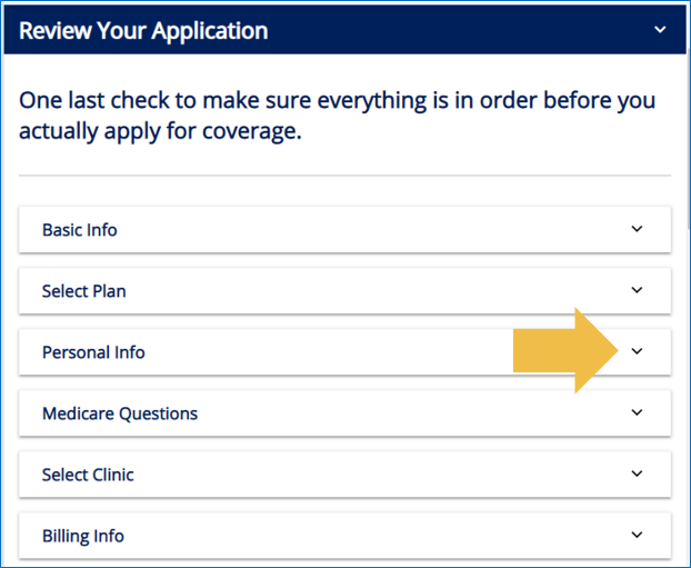 "Click on the drop-down arrow for ""Personal Info."""