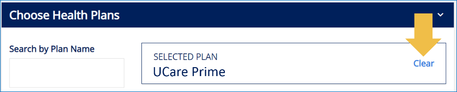Image of website showing where to clear plan choice