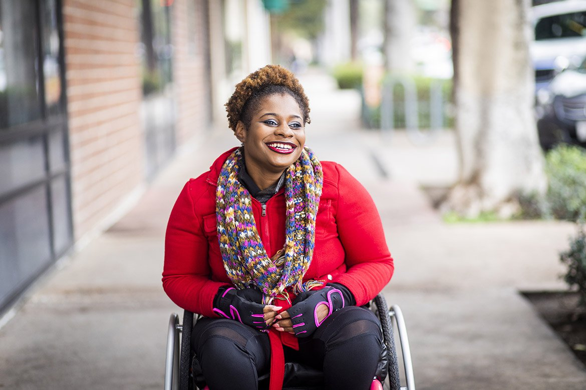 Smiling woman in wheelchair